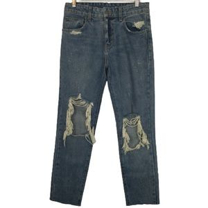 Carmar High Rise Distressed Straight Leg Jeans